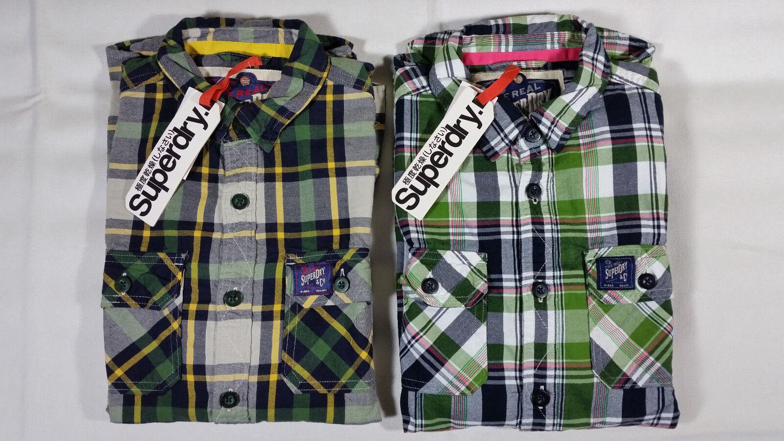 NWT SUPERDRY 100% Cotton Classic Plaid Casual Shirt Mens Sizes Small, Medium