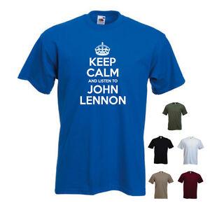 Keep-Calm-and-Listen-to-John-Lennon-Beatles-Band-T-shirt-Tee