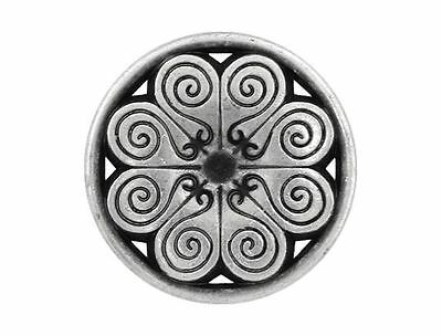 6 Spiral Petals 5/8 inch ( 15 mm ) Metal Shank Buttons Silver Color