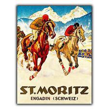 ST. MORTIZ Switzerland METAL SIGN PLAQUE Vintage Retro Travel Holiday Advert