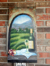"""OIL Painting- Landscape with Wine Bottle and Grapes-12""""x24"""""""