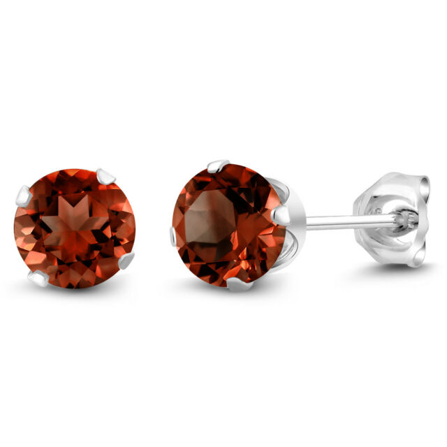 January Birthstone Red Garnet 925 Silver Stud Earrings 2.00ctw 6mm Each