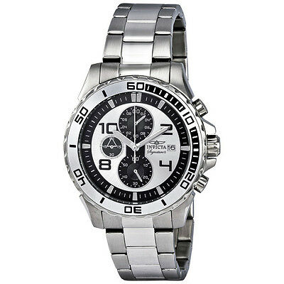Invicta Signature II Chronograph Silver-tone and Black Dial Stainless Steel Mens