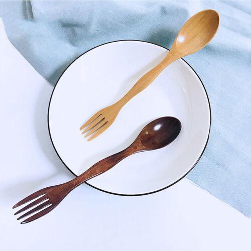 2 In 1 Spoon Forks Natural Wood Cutlery Coffee Tea Spoons Salad Fruit Fork Shan