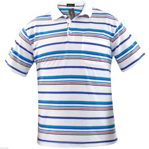 Da Uomo T Shirts filato tinto STRISCIA PK Polo Top tasca multi-colore Taglie M-2XL
