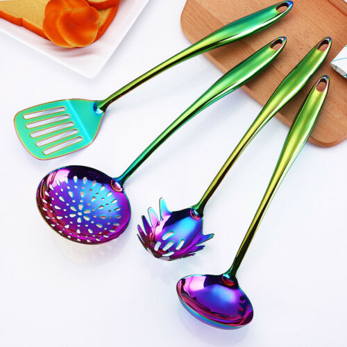 Stainless Steel Rainbow Spatula Soup Spoon Colander Utensils Cook Kitchen Tools