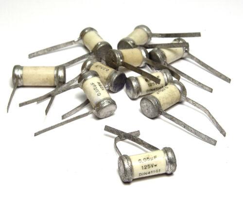 1950s NOS 125 V 10 pcs Vintage Sikatrop Paper Capacitors 0.05 µF