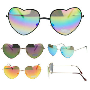 a5355625c Image is loading Girly-Womens-Cute-Love-Color-Reflective-Mirror-Lens-