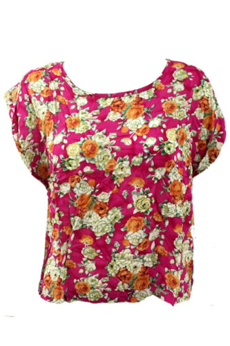 1s Womens Ladies Floral Batwing Top Blouse Summer Baggy Tops Size 8-14