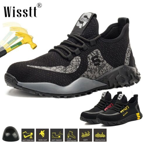 Mens ESD Safety Indestructible Shoes Steel Toe Work Boots Breathable Sneakers UK