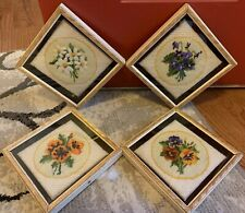 Set 4 Vintage Crewel Needlepoint Embroidery Framed Wall Art Floral Flowers Pansy