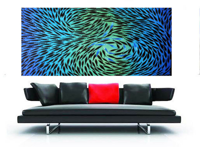 Large Landscape Modern Art Painting Fish aqua blue 150cm By Jane