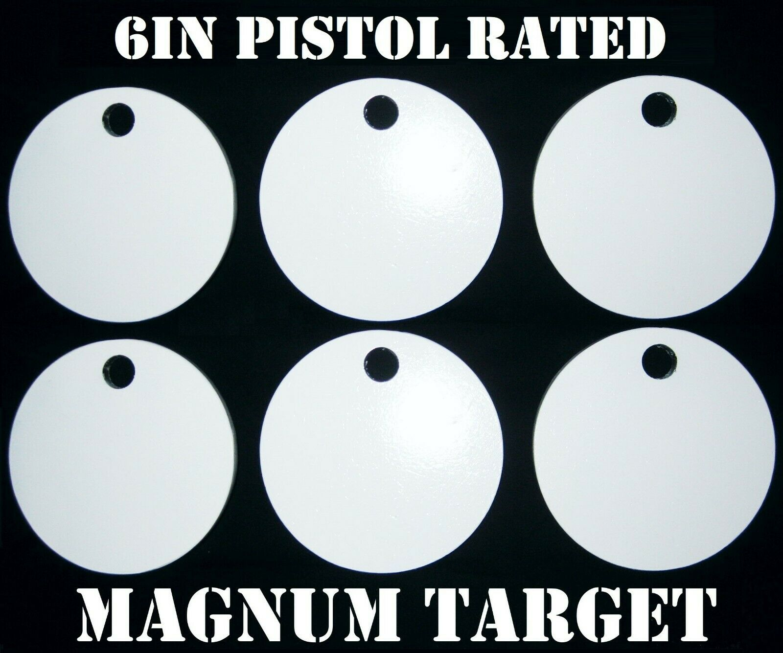 Steel Shooting Targets - 6 Inch Round Hangers - NRA Action Pistol Plates - 6 pcs