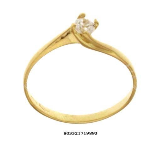 Anello oro bianco 18 kt solitario matrimonio con zircone brillante donna cm.0.2