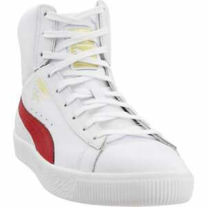 Puma-Clyde-Core-Mid-High-Top-Sneakers-Casual-White-Mens
