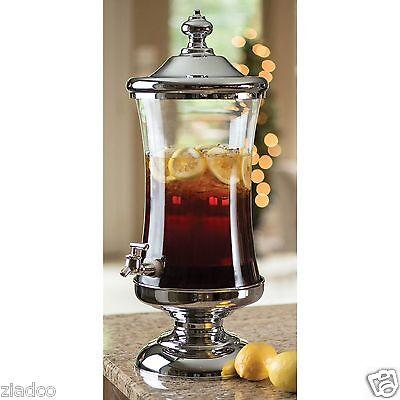 Brand New 2.5 Gallon Glass Chrome Beverage Dispenser Drink Server Jar Godinger