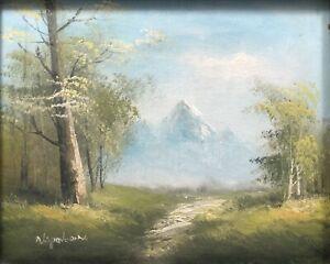 Vintage Oil Painting On Wood Board Original Landscape Art Signed Nepoleon Framed