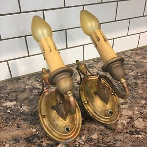 Matched-Wired-Pair-Antique-Brass-Wall-Sconce-Fixtures-Lights-Light-Lighting-3A