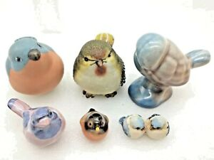 6 Vintage Bird Figurines Porcelain Ceramic Resin Hand-painted Collectible