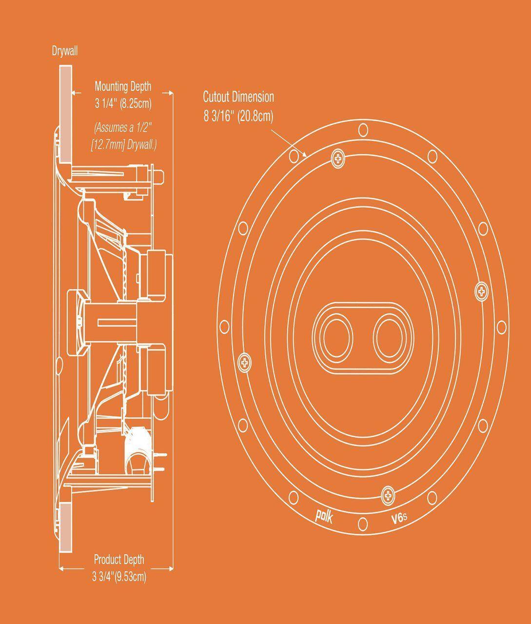 Polk V6s Wafer Thin Sheer Grill Vanishing Single Stereo In