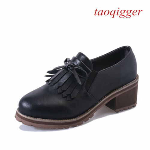 Fashion British Women Tassel Block Heel Lace-up Sneakers Casual bowties Shoes