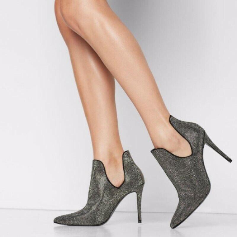 Women's Slip On Pointy Toe Rhinestones Stilettos High Heels Glitter Party Boots