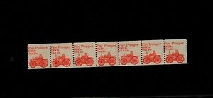 Scott-1908-Fire-Pumper-Plate-Number-Strip-7-of-plate-1-VF-MNH-Free-US-Ship