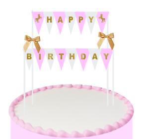 Excellent Pink White Gold Unicorn Happy Birthday Cake Bunting Banner Topper Funny Birthday Cards Online Necthendildamsfinfo