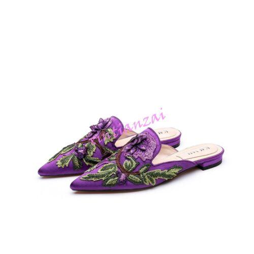 Womens Slip On Chic Pointy Toe Floral Print Vintage Flat Mules Slipper Velvet