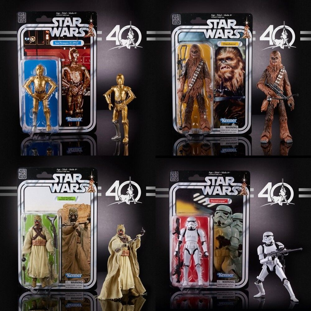 Star Wars 40 Anniversary 6  Wave 2 Stormtrooper Chewbacca C3PO Sand People MINT
