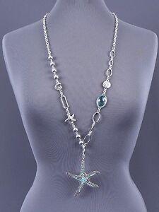 Blue-Starfish-Pendant-Long-Necklace-Silver-Tone-Chain-Women-Fashion-Jewelry