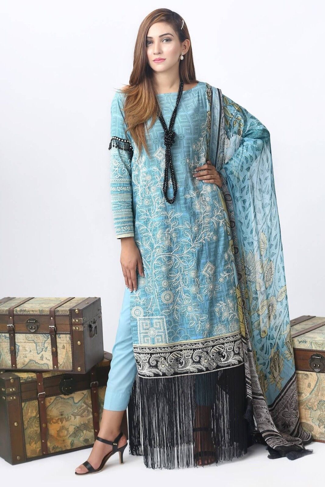 100% Authentic Alkaram Pakistani Clothes - SS L1 18 bluee - Stitched XL