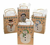 Wholesale 60 Brown Paper Snowman Gift Bags Country Christmas Holiday Supplies