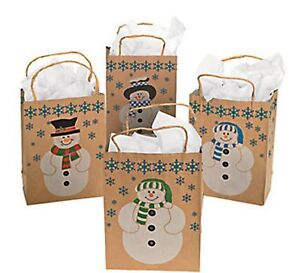 Wholesale 36 Brown Paper Snowman Gift Bags Country ...