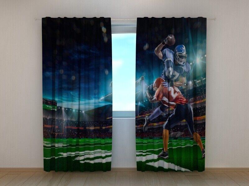 Curtain American Football in the Stadium Wellmira Window Printed 3D Sport Motif