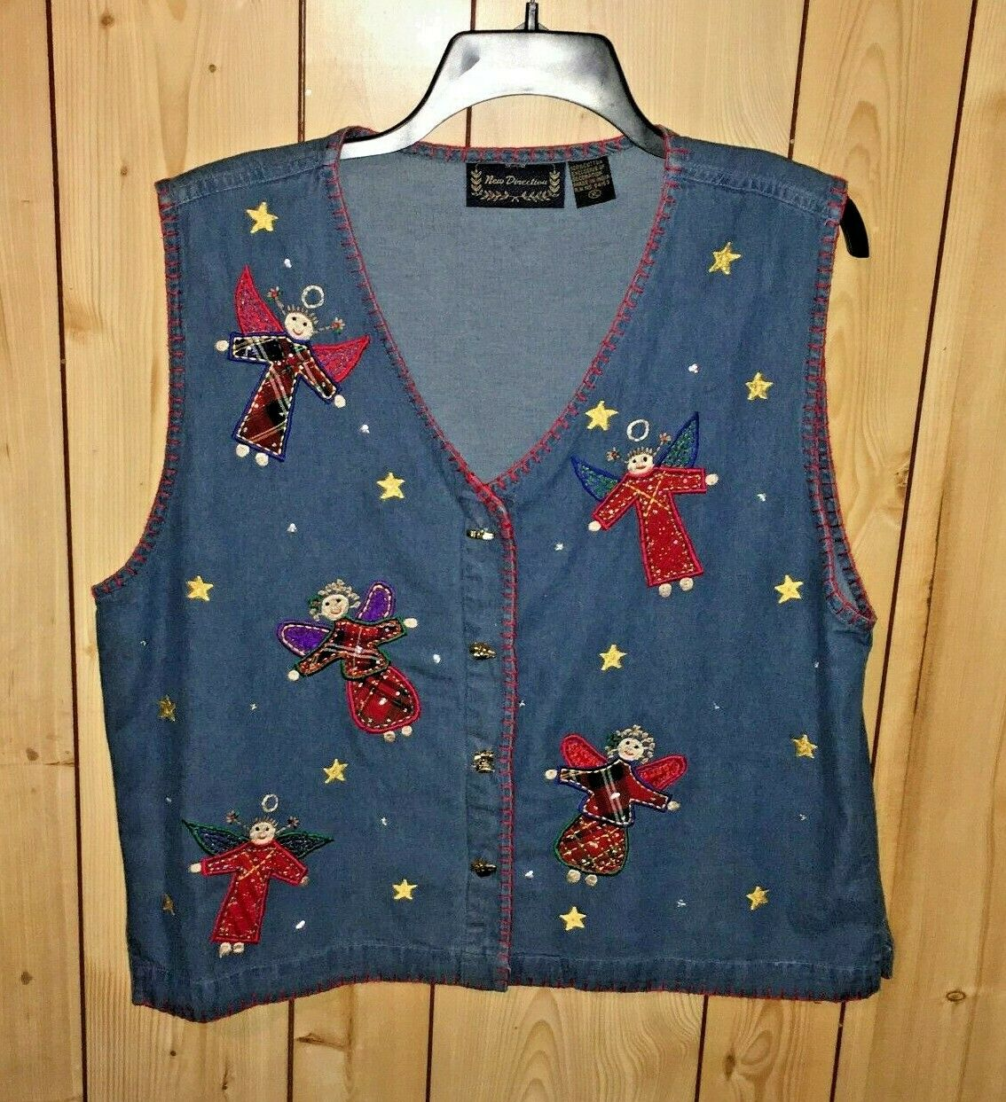 New Direction Women's XL Embroidered Blue Denim Vest Angels - Holiday