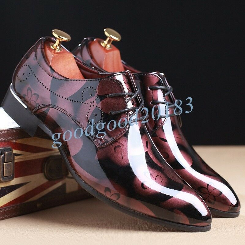 Mens Patent Leather Hot Formal Floral Casual Dress Flower shoes Lace UP Oxfords