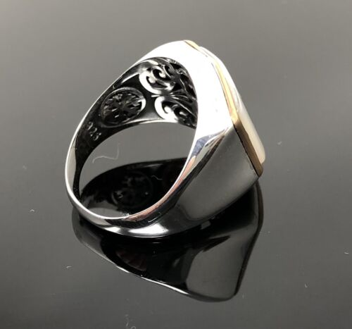 US Seller K64A Unique 925 Sterling Silver Mother of Pearl Stone Men/'s Ring