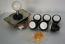 Japan Sanwa Buttons Mix Black White x 6 W/ Joystick White GT-Y Wire Arcade Parts