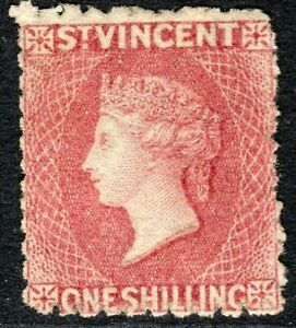 St Vincent 1872 deep-rose-red 1d small star sideways  perf 11 to 12.5 mint SG17