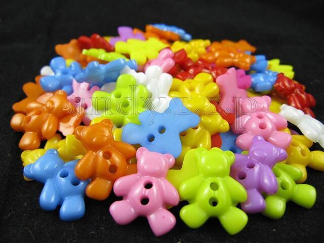50pcs colorful bear baby plastic button lots HDJ