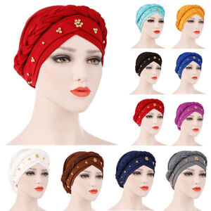 Red color hat with satin bow stretch head cap turban Hijab beanie chemo hat