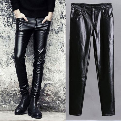 Hommes Fashion Cuir Élégant Pantalon Coupe Slim Skinny Rock Moto Pantalon Parti