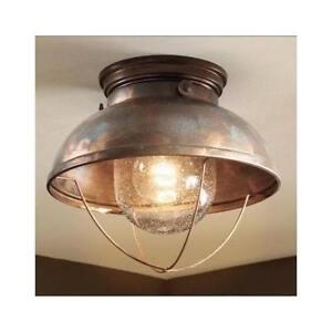 Ceiling light fixture bathroom kitchen rustic lighting cabin decor lodge copper ebay for Copper bathroom light fixtures