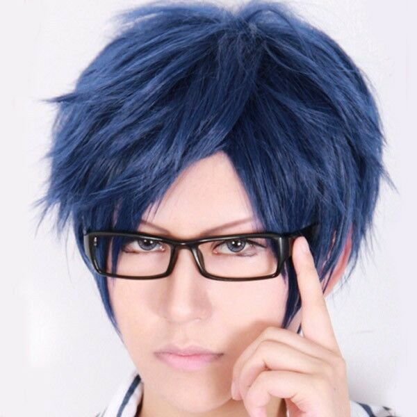 Free! Iwatobi Swim Club Ryugazaki Rei Cosplay Costume Blue Short Wig Hair