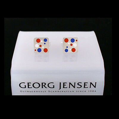 Red and White DOMINO Georg Jensen Silver Cuff Links # 93C Blue