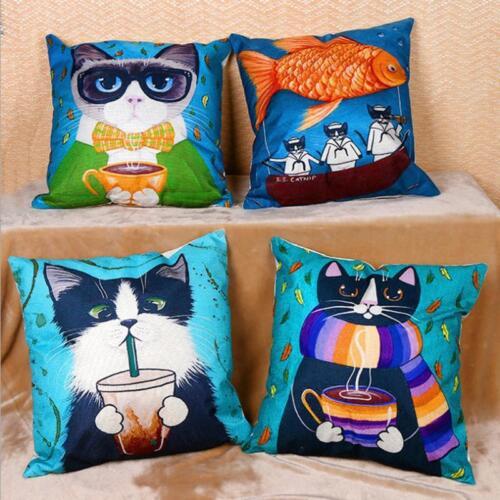 Cartoon Cute Cat Pillow Cover Cushion Covers Animal Pillow Case JJ