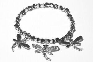 Damen-Stretch-Libellen-Armband-Ketten-Armreif-Silber-mit-Swarovski-Kristall