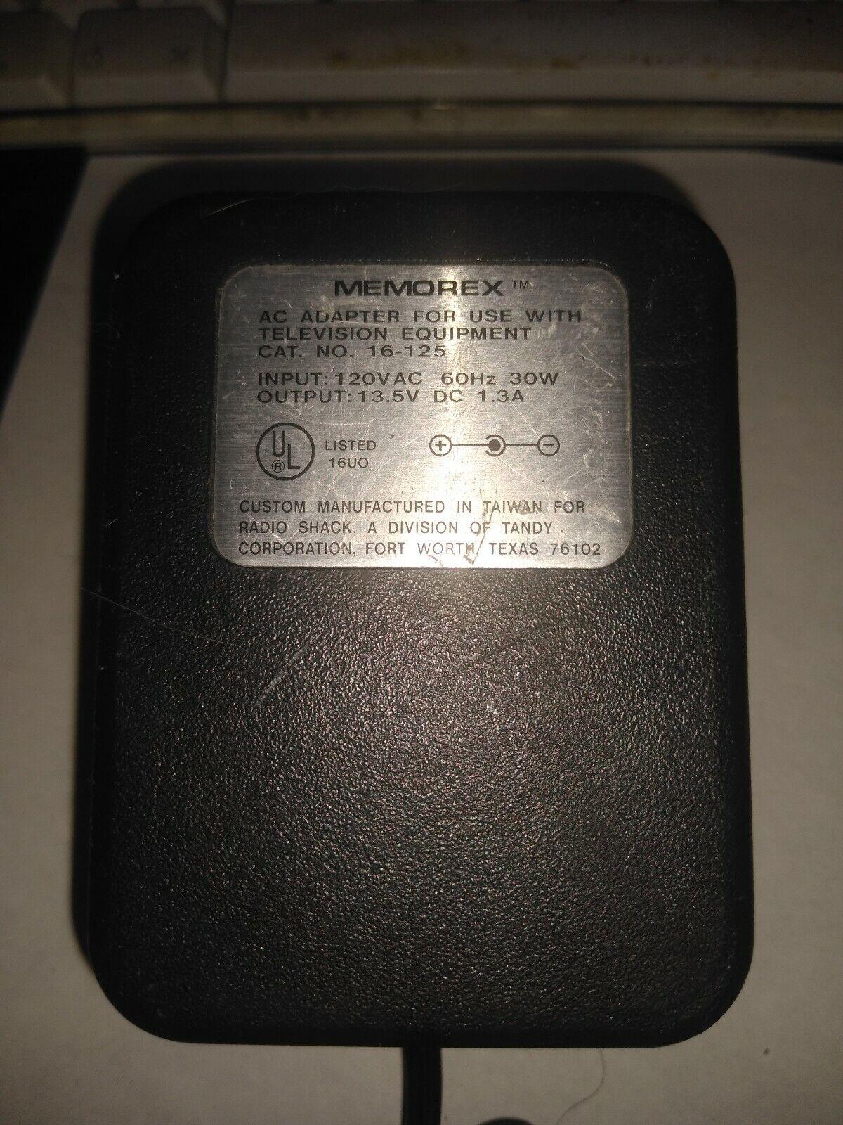 (CB) Memorex adapter 16-125 13.5V DC 1.3A Free US Shipping