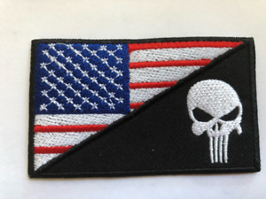 Large American Flag Punisher Skull Green Line Embroidered Iron On Sew Patch Hlpsocialsquare Com